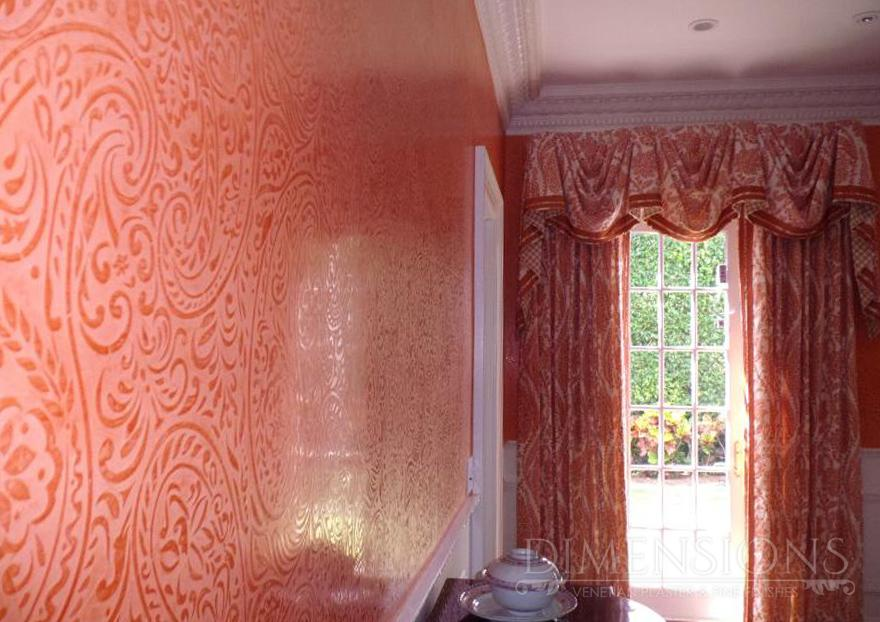 Venetian plaster with embedded stencil